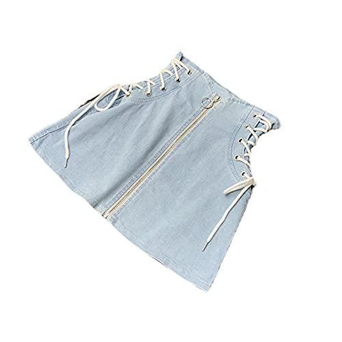 N\P Faldas de mezclilla para mujer, cintura lateral de verano, anillo frontal con cremallera