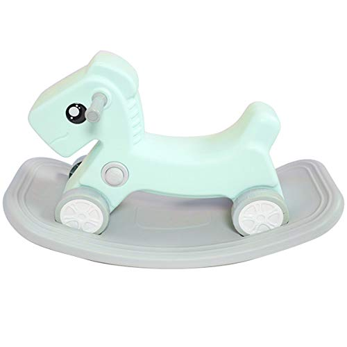 ZHKXBG Kids Rocking Horse, Toddler Rocker Toy, Infant Rocking Animal, Indoor Outdoor Baby Rocking Chair, Gift for 1-3Y,green&gray