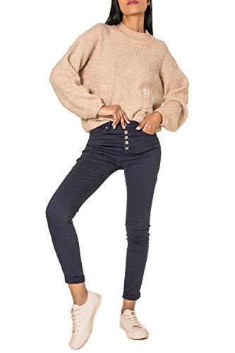 EGOMAXX Damen Jeans High Waist Skinny Hose Stretch Shaping Pants, Farben:Dunkelblau, Größe:34