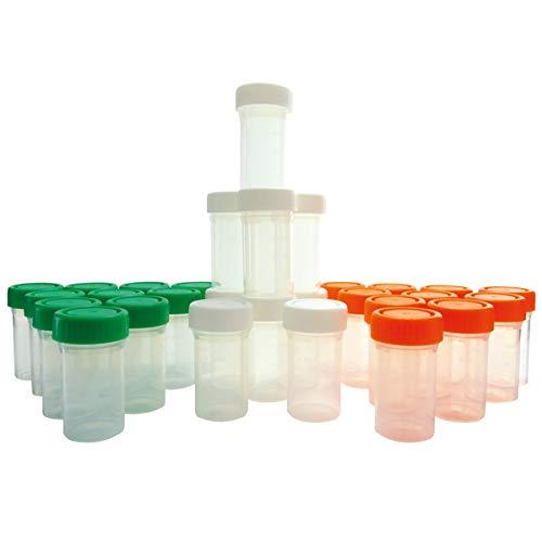 KENZIUM - Set de 30 Frascos Graduados de Laboratorio, para Muestras de 25 ml   de Cuello Ancho, de Plástico, Con Tapas Multicolor de Rosca, Contenedores de Recogida, Color Naranja, Blanco y Verde