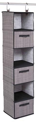 Internets Best Hanging Closet Organizer with Drawers - 6 Shelf - 3 Drawers - Clothing Sweaters Shoes Accessories Storage - Grey