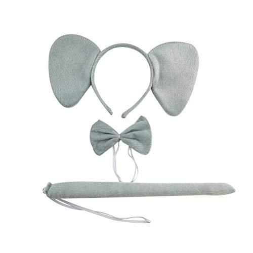 Amosfun 3 stücke Kinder Kostüm Set Elefantenohren Stirnband Krawatte und Schwanz Kit für Kinder Party Performance Halloween Cosplay Kindertag Liefert (Grau)