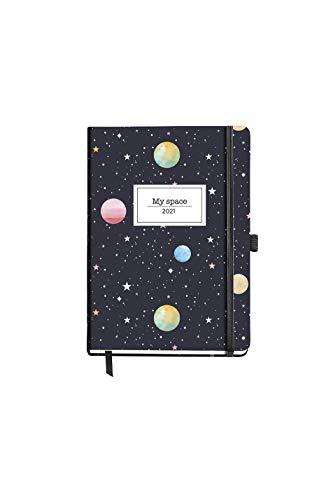 MIQUELRIUS - Agenda 2021 Planets - Español, Día Página, Tamaño 122 x 168 mm, Papel 70g, Cubierta Rígida Cartón Forrado, Color Marino