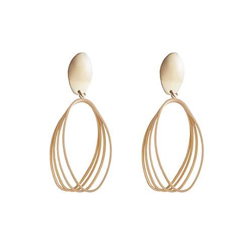 sknonr 925 Pendientes Largos Pendientes geométrica Simple Oval Pendientes Mate joyería for Mujer niña