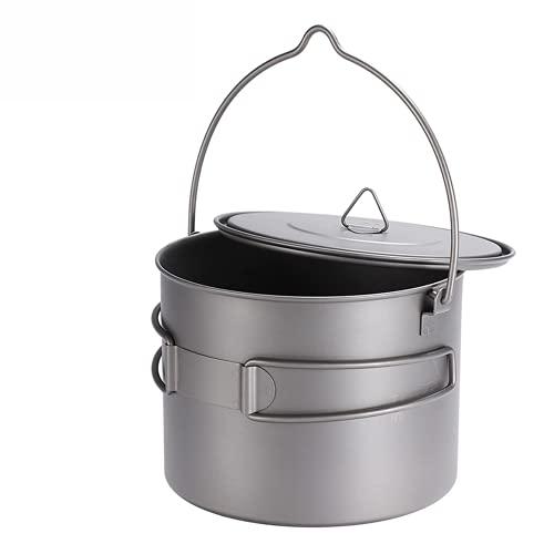 1300 ml Pot de titanio al aire libre Camping de utensilios colgando olla con mango super fácil de transportar