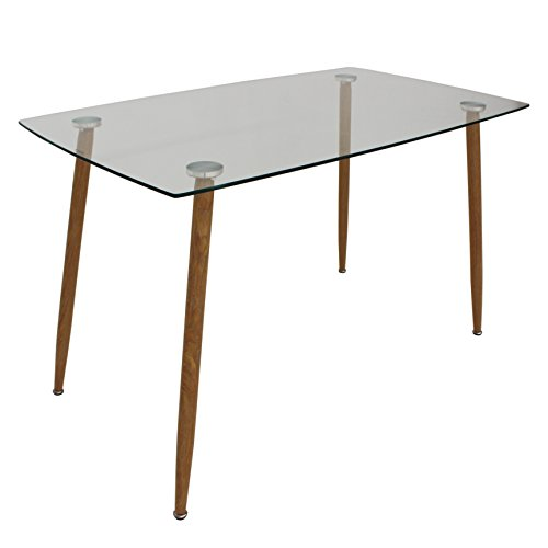 Oui Home. Mesa Comedor o Cocina Tapa Cristal 120 x 70, Patas metalicas Imitacion Madera