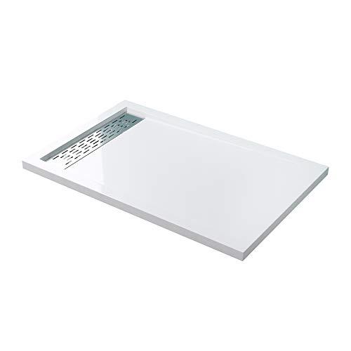 Mai & Mai Receveur de Douche Plat Bac à Douche 80x120cm en Acrylique Blanc Rectangulaire XE4