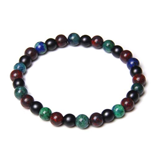 Anime DIY Handmade 6mm Natural Turquoises Stone Beads Bracelet Fashion Malachite Lapis Lazuli Energy Beads Bracelet Women Men Yoga Jewelry,1,17CM