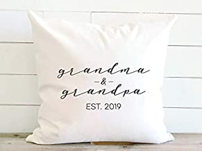 New Grandparents Established Date Pillow, Birth Announcement Pregnancy Reveal Gift. 20 x 20 Inch Canvas Pillow Cover with ...