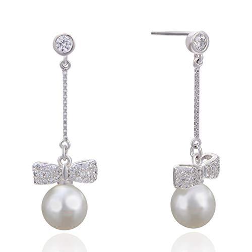 YD Pendientes De Perlas De Circonia para Mujer Plata De Ley 925 Pendiente De Gancho De Perla Dangle Joyas