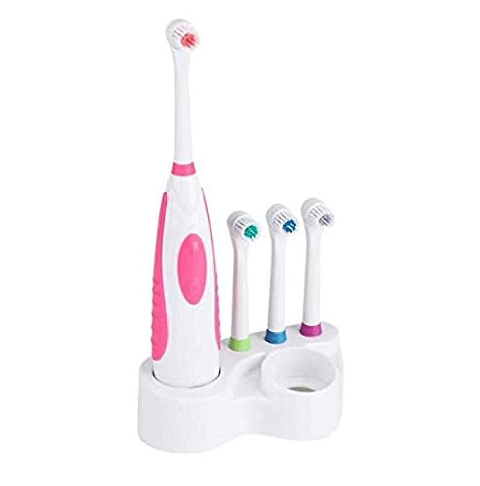 エキスパートパトロールペストリーLcxghs 電池式電動歯ブラシ防水歯科医療回転歯ブラシヘッド+ 3ノズル口腔衛生。 (Color : Pink)