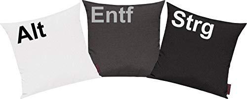 Shirtinstyle Pillowcase Cover Set 3 Piece for the Chosen Few! Cushion Motif Old Ctrl and Delete - White, 40x40cm