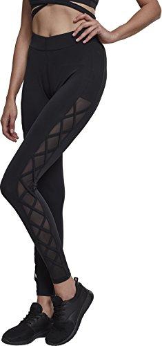 Urban s Damen Ladies Ribbon Mesh Matt Fein Leggings, Schwarz (Black 00007), 36 (Herstellungsgröße: S)