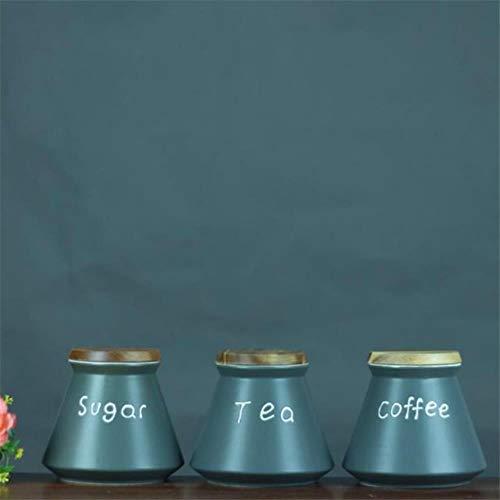 FORHOME 3 Stks Keramische Koffie Opslag Potje Set Keuken Snack vers voedsel Doos Thee Suiker Verzegelde blikjes Kleine Tank Chinese Stijl