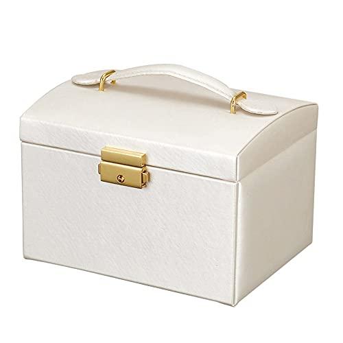 MAVL Caja de joyería for Mujeres niñas Novia Esposa Regalo Ideal, joyería de Cuero Grande Caja de Almacenamiento de la joyería con 3 Capas de Pantalla for Pendientes brazaletes Anillos Relojes -Negro