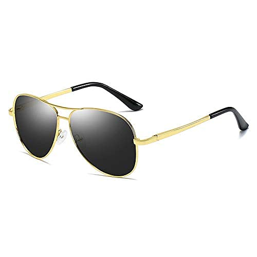 Yeeseu Gafas de sol for hombre polarizado cambio de color de las gafas de sol de protección UV Color del metal de la película piloto de la rana espejo retrovisor Gafas Gafas de moda (Color: 03Gray, Ta