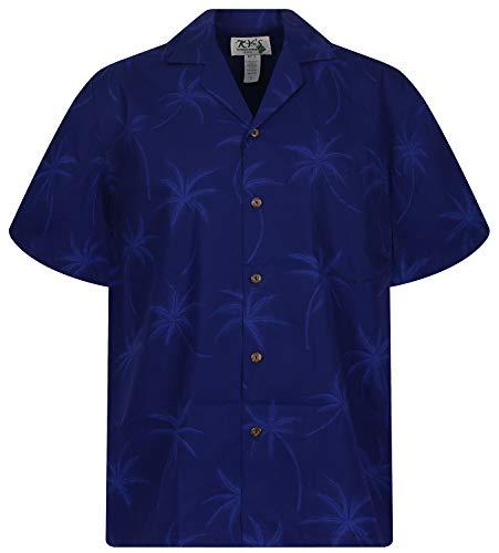 KY's Original Hawaiihemd, Palm Shadow, Dunkelblau, XXL