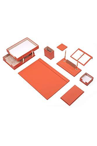 Calme-D Lux - Juego de escritorio (10 piezas, con doble bandeja para documentos, 49 cm x 34 cm, piel sintética, con placa para nombre personalizado, en 10 colores a elegir), color naranja
