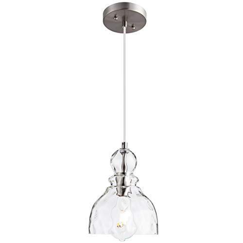 LANROS Mini Pendant Lighting with Handblown Clear Hammered Glass, Adjustable Cord Drop Ceiling Light Fixture for Kitchen Island Hallway Kitchen Sink, Brushed Nickel