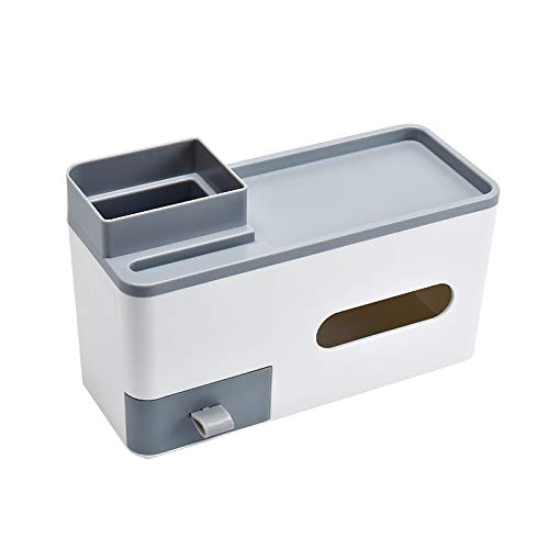 Caja Pañuelos Caja de dispensador de tejido plástico con función de almacenamiento, una caja de tejido facial de papel de escritorio que hace que el escritorio ya no sea desordenado Dispensador Pañuel