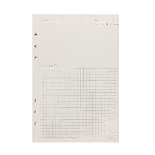 A5 21 cm / A6 17cm 6穴カバー用詰め替え用紙丸リングバインダーファイルフォルダー (Favorites Refill Paper, A5)