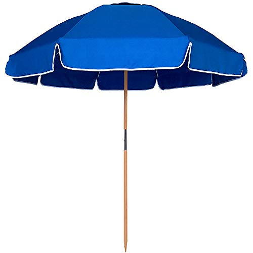 AMMSUN 7.5ft Heavy Duty HIGH Wind Beach Umbrella Commercial Grade Patio Beach Umbrella with Air Vent Ash Wood Pole & Carry BagUV 50+ Protection Blue