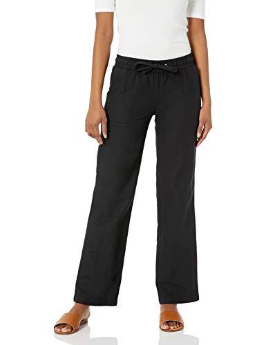Amazon Essentials Women's Linen Blend Drawstring Wide Leg Pant, Black, Large