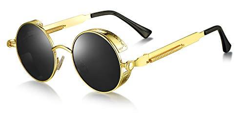 WHCREAT Retro Rund Polarisierte Sonnenbrille UV400 Schutz Steampunk Stil Brillen - Gold Rahmen Schwarze Linse