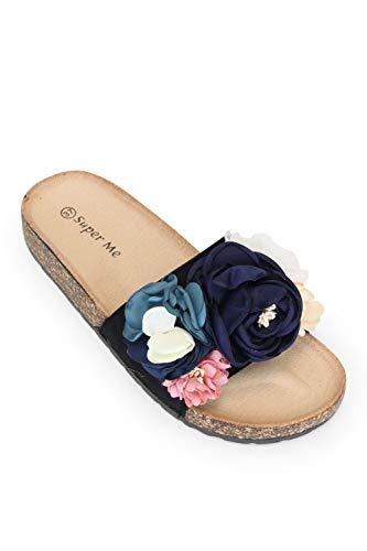 irisaa Bunte Pantoletten Sandalen mit Schleifen oder Blumen zum Sommer, 2019 Patoletten Farbe (1):Black, Schuhgröße 36-41:36