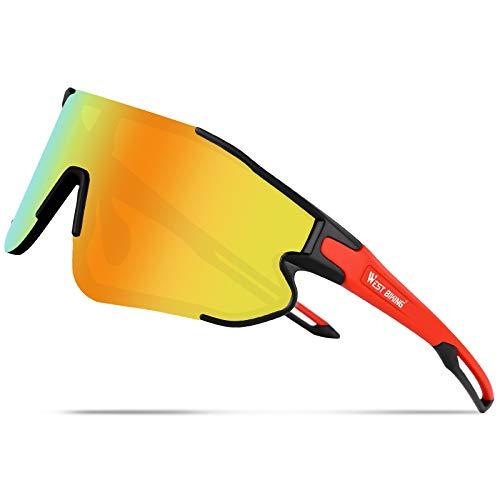 ICOCOPRO Polarisierte Fahrradsonnenbrille, UV Schutz Fahrradbrille Männer Frauen, TR90 Unbreakable Frame Sports Sonnenbrille, Brille zum Laufen Baseball Golf Fahren Angeln