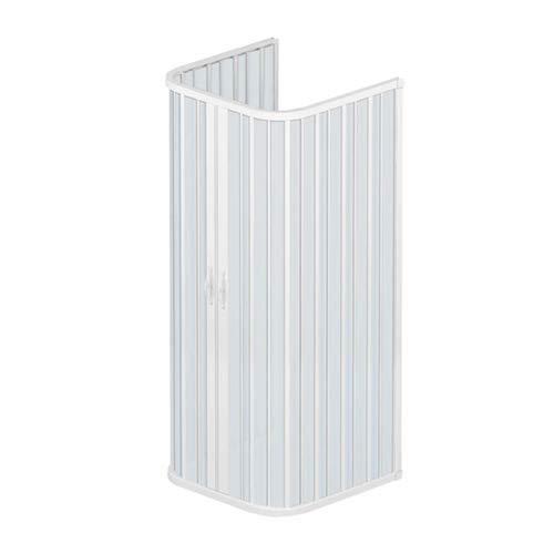Box doccia 75x75x75 cm modello Dora a 3 lati riducibili doppia anta con apertura centrale a soffietto in pvc di colore bianco.