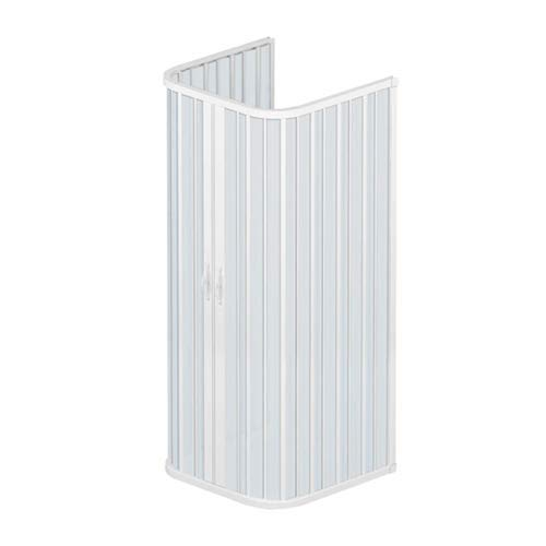 Box doccia 80x80x80 cm modello Dora a 3 lati riducibili doppia anta con apertura centrale a soffietto in pvc di colore bianco