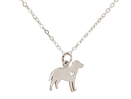 Gemshine Halskette Labrador Golden Retriever Hund Anhänger. 925 Silber, vergoldet oder rose an 45cm Kette. Geschenk für Haustier Herrchen, Frauchen - Made in Spain, Metall Farbe:Silber