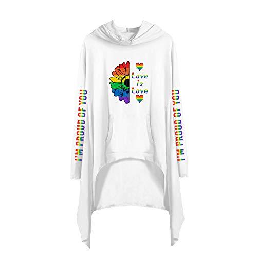 LGBT Vestiti Asimmetrici Donna Eleganti Abito Autunno Inverno Vestito Irregolare Felpa con Cappuccio Maglia Moda T Shirt TV Series Blusa Camicia Tunica Top Tinta Unita A18322LY032L