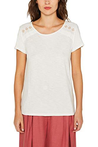 edc by ESPRIT Damen 049CC1K024 T-Shirt, Weiß (Off White 110), Small (Herstellergröße: S)