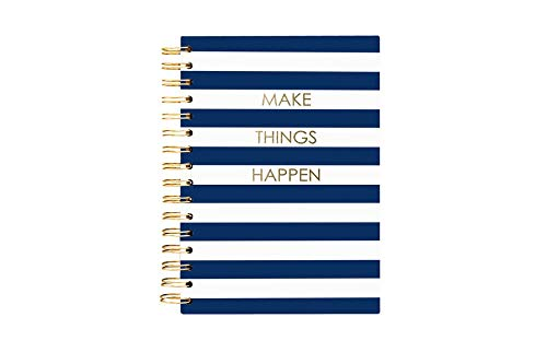 Graphique Navy Stripe Hard Bound Journal, 160 Ruled Pages, Blue & White Striped Inspirational 'Make Things Happen' Cover & Embellished w/ Gold Foil, 6.25' x 8.25' x 1'