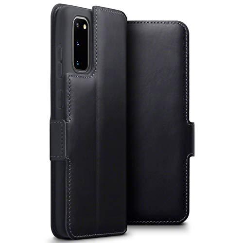 TERRAPIN, Kompatibel mit Samsung Galaxy S20 Hülle, Premium ECHT Spaltleder Flip Handyhülle Samsung Galaxy S20 Hülle Tasche Schutzhülle, Schwarz