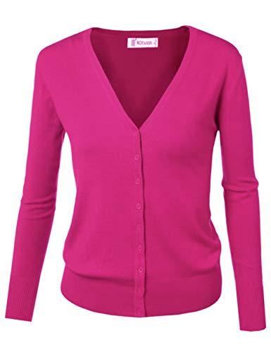 Cardigan primaverile con bottoni, da donna, essenziale Hot Pink 48 IT/etichetta 3XL