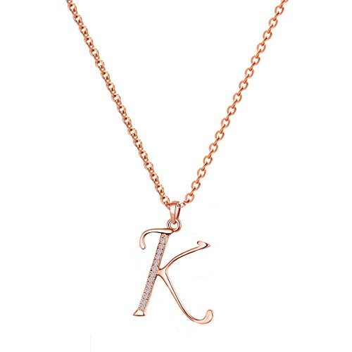 Paialco Jewelry 14K Rose Gold Plating Sterling Silver Initial Alphabet Pendant Necklace 18' Red