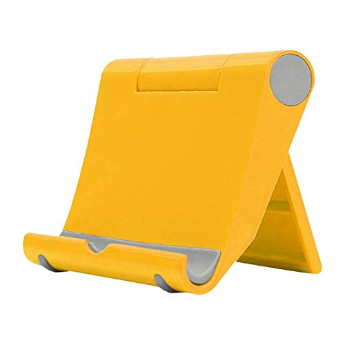 happysdh Tablet Stand Adjustable Desk Mobile Phone Holder Foldable Portable Video for online learning, work at home and office (Yellow)