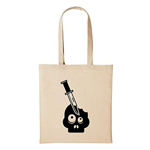 Hellweg Druckerei Jutebeutel Zombie Messer Tod Untot Undead Geschenk-Idee für Damen und Herren Tasche Baumwolle für Freunde und Familie