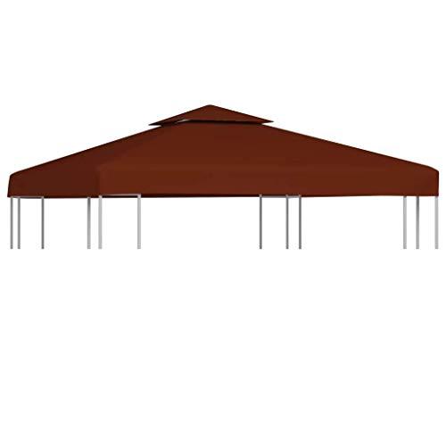 vidaXL Pavillondach 2-Stufig Wasserdicht Pavillon Partyzelt Gartenzelt Dachplane Ersatzdach Ersatz Dach Plane Pavillonplane 310g/m² 3x3m Terrakotta