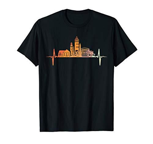 Darmstadt Skyline Herzschlag Retro Vintage Stil T-Shirt