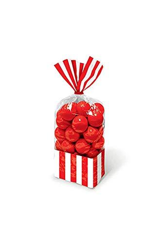 Amscan - Sacchetti Porta Dolci Caramelle Confetti a Righe - Rosso - 10 Pezzi