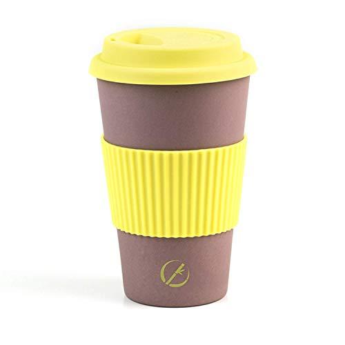 Planet Bamboo - Coffee-to-Go-Becher aus Bambus (Bambusdeckel | 400 ml) Nachhaltiger Kaffeebecher für Unterwegs (Silikondeckel, Lemon Tree)