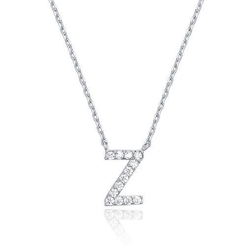 PAVOI Oro blanco 14K plateó el collar Cubic Zirconia inicial   Collares de letras para las mujeres   Z inicial