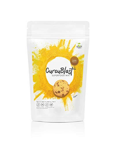 CurcuBlast - 100 Percent Vegan Protein Powder with Added Turmeric, Soy and Lactose Free, High Protein, Low Sugar, No Chalkiness or Bloating, Ideal Breakfast & Post Workout Shake - 500g (Cookie)