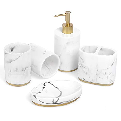 Bathroom Accessories Set, 5 Piece Resin Bathroom Sink Set, Toothbrush Holder, Liquid Soap Dispenser, Soap Dish, 2 Tumblers (Ink White with Gold)