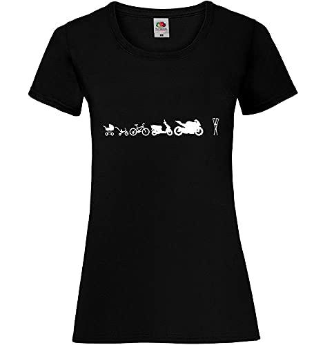 Shirt84.de - Camiseta para mujer con diseño de evolución de motociclismo Negro XS