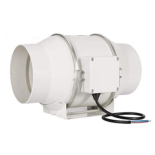 Hon&Guan 200mm Rohrventilator Mischdurchfluss Rohrlüfter mit Starker Abluft System 494CFM für Büro, Bad, Halle, Hydroponic Zimmer (ø150mm standard)